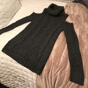 AEO Charcoal Cowl Neck Knit Sweater